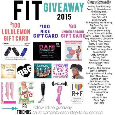 Huge GIVEAWAY, Awesome PRIZES, Three WINNERS! #FitGiveaway2015 @brittanysuell
