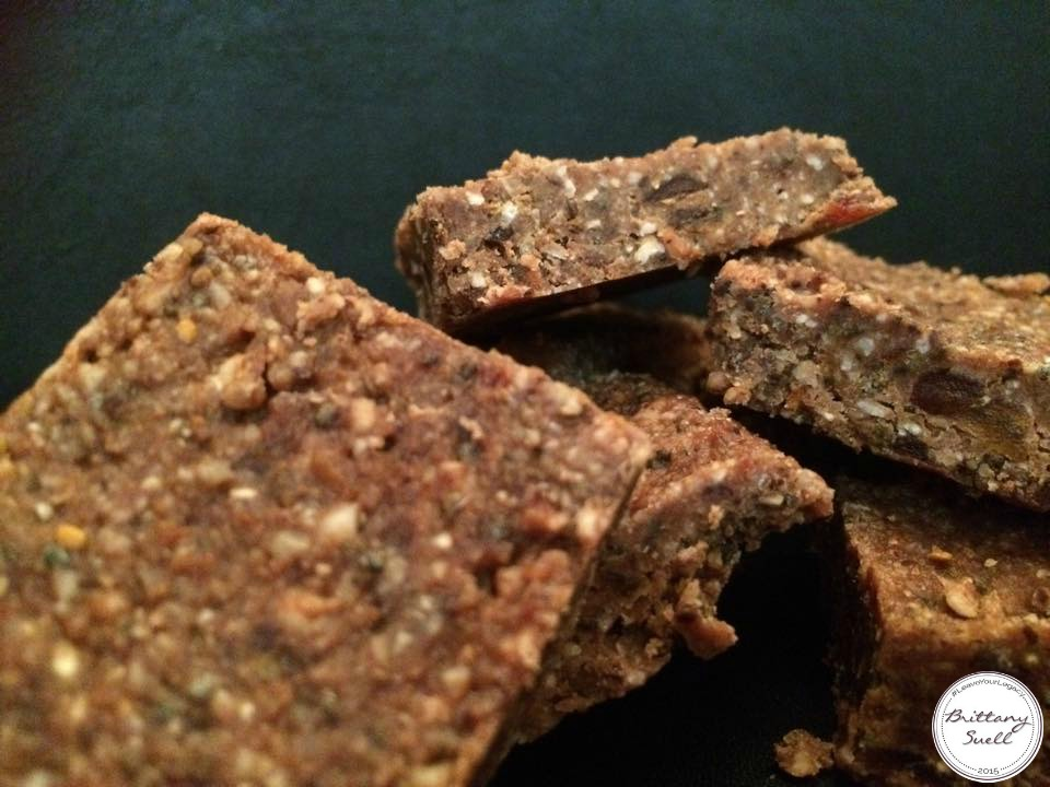 Homemade Larabar Recipe from @brittanysuell  No added sugars. Ingredients include: dates (as the natural sweetener), almonds, coconut, chia seeds, coconut oil, cocoa powder, and water.