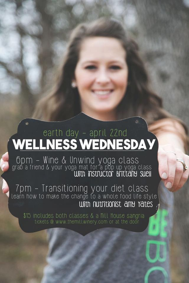 Come to Wellness Wednesday for Earth Day on April 22nd and do Yoga with @brittanysuell plus a nutrition workshop and sangria!!