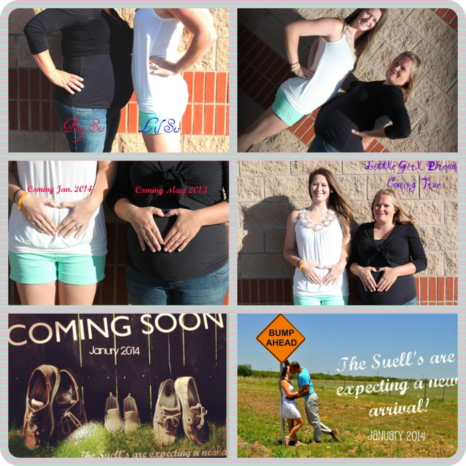 My sister and I were so excited because we were pregnant at the same time! We announced it on the blog here!