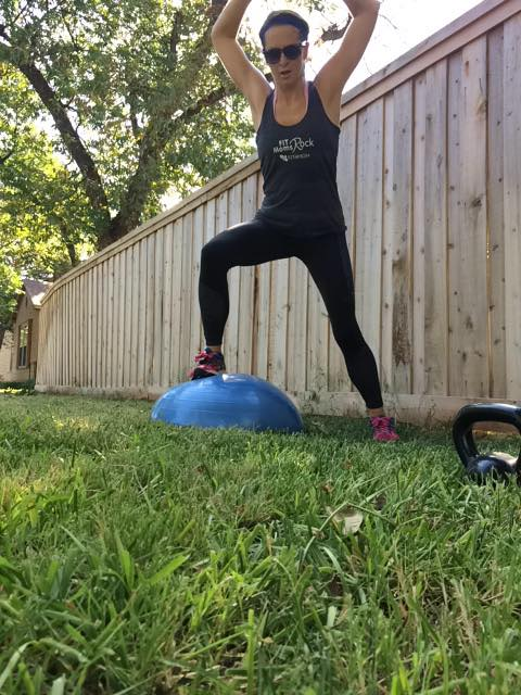 90 Lateral shuffles on the Bosu or Jumping Jacks for The #BOSUStrong Countdown Workout with @BrittanySuell