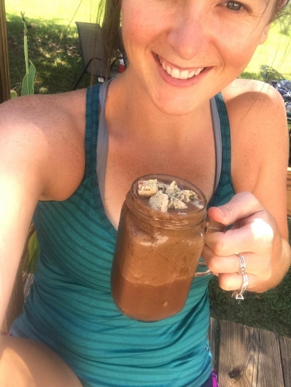 Enjoying one of my favorite superfood smoothies topped with a delicious Wella Bar!