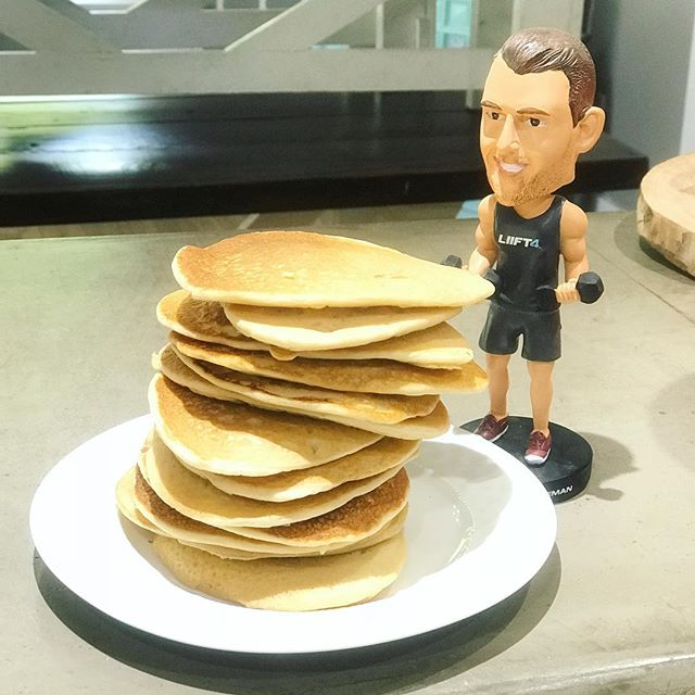 Trainer approved power pancakes for breakfast! . There are always healthier ways to make our favorite foods!