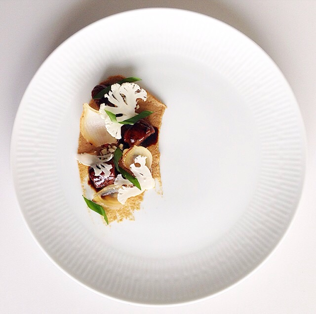 Lamb with cauliflower, black garlic and ramson