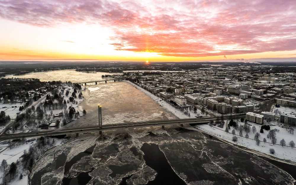 Evening aerial image of Rovaniemi