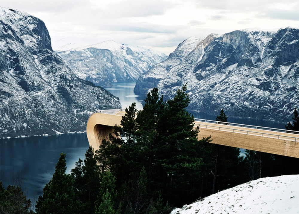 Nature first and architecture second was the guiding principal for the design of the Aurland Lookout. With the beautiful surroundings the site was carefully designed not to have too many elements to disturb the atmosphere. Even though this design has an expressive form, the concept is a form of minimalism, in an attempt to conserve and complement the existing nature.