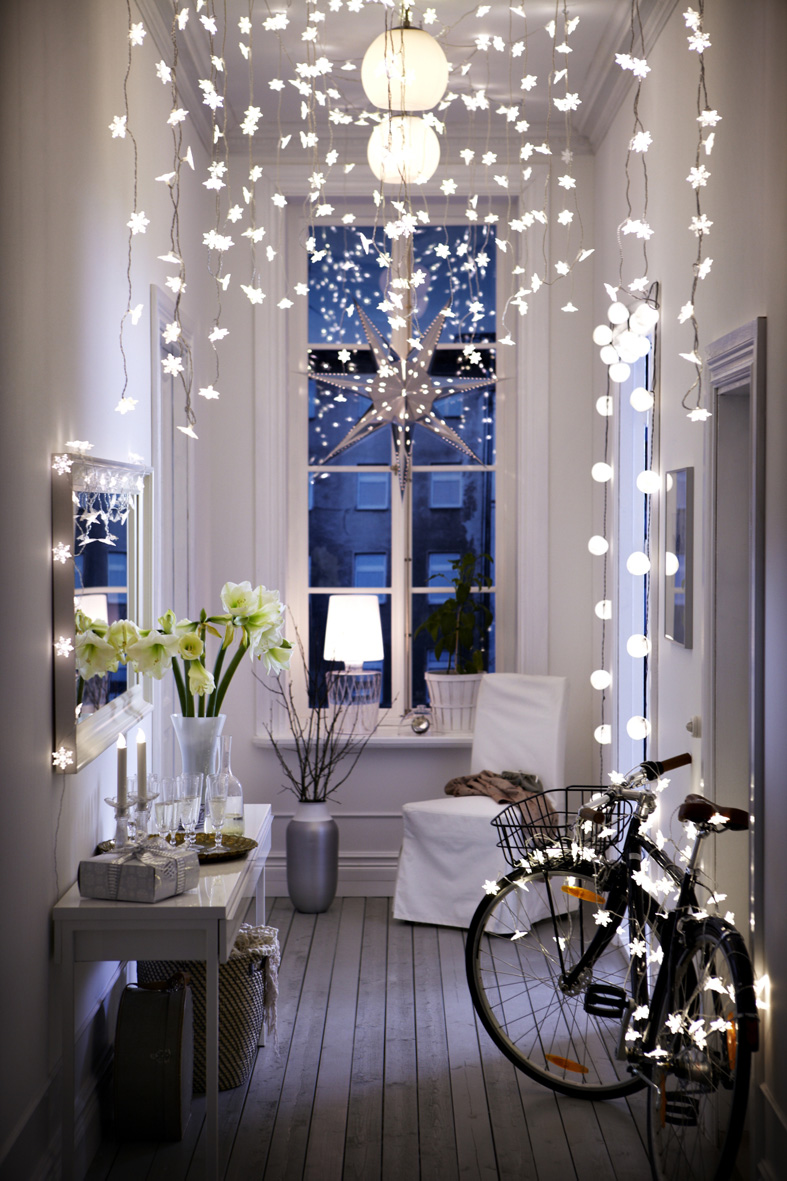 Simple but effective fairy lights can add to the Christmas charm.   Image source