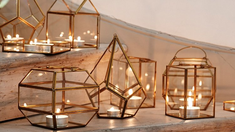 Hygge Lifestyle Living Danish Happiness Cozy Candles in Gold Vases Relaxation