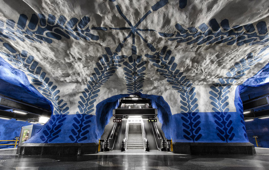 Per Olaf Ultveldt created these beautiful, bold vine and floral motifs at Stockholm's T-Centralen station in 1975, with the aim of creating a sense of calm for commuters.