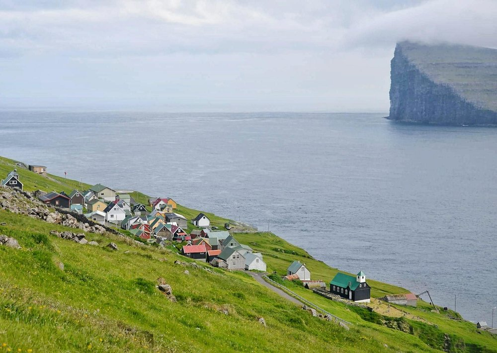 Fugloy is the eastern-most island in the Faroe Islands. The name means bird island, and refers to the large number of birds that nest on the island's cliffs.