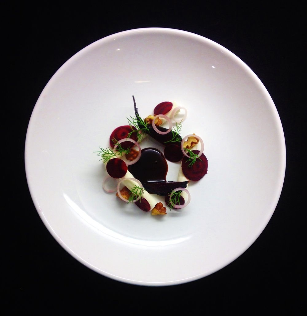 Beetroot, liquorice and goats cheese.