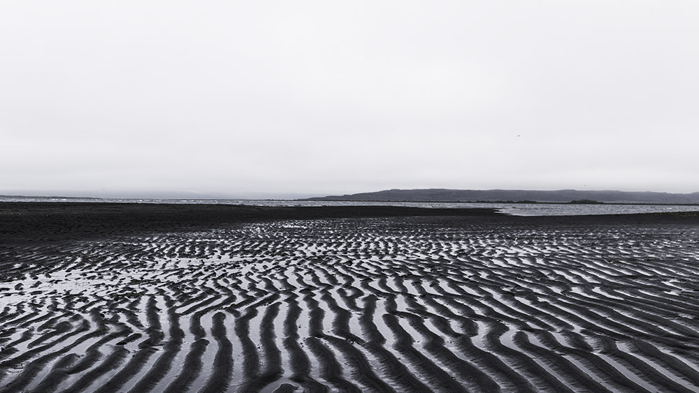 """Afternoon sand patters on the black sand beach by Hvítserkur, near Skagaströnd the village where I lived."""