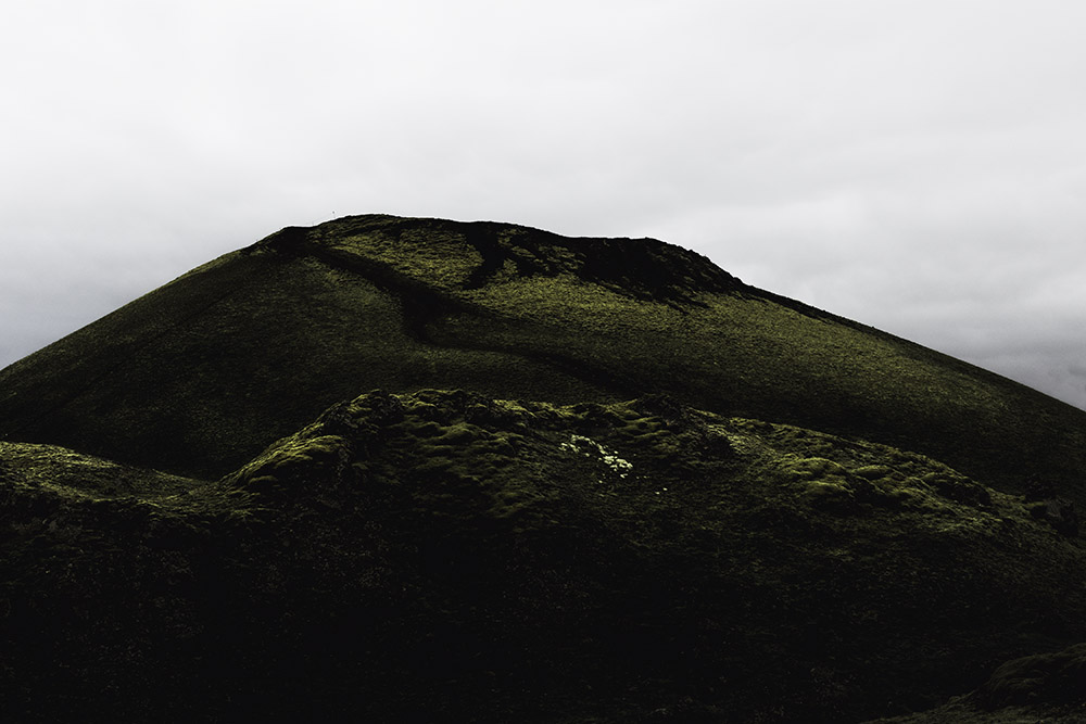 """These pitch dark hills topped with velvety moss, so common in the highlands, were a huge inspiration for my sculptures."""