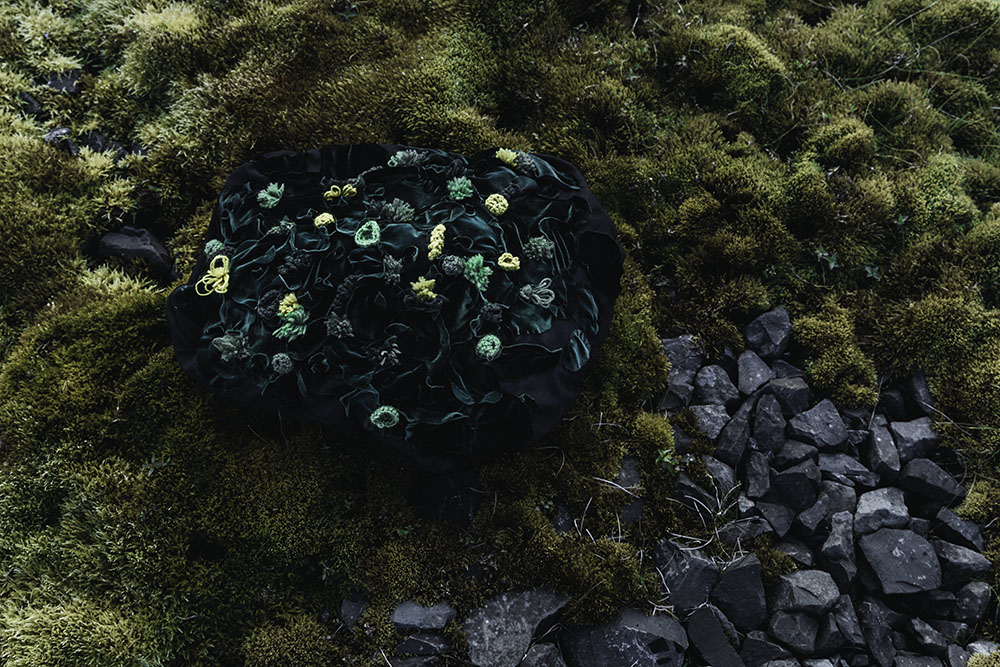 """""""My first moss rock in its natural habitat. Made of cotton, velvet and Icelandic wools."""""""