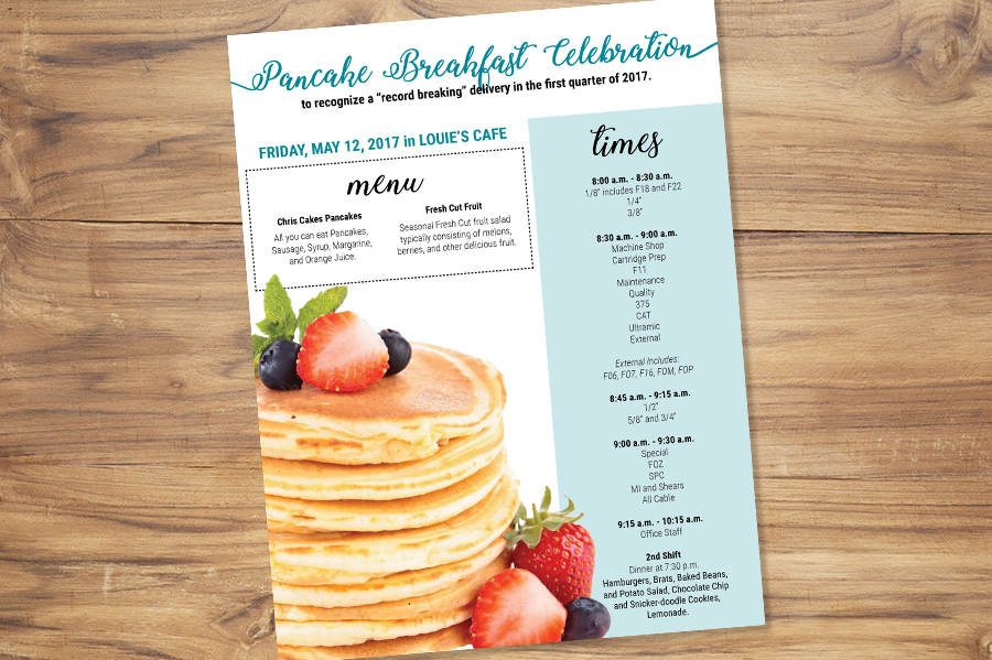 Company pancake breakfast flyer
