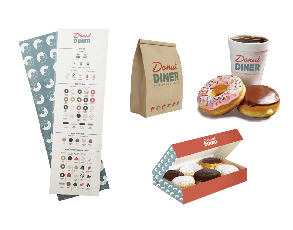 Donut Diner - Logo design, menu and branding concepts for a Donut Diner.