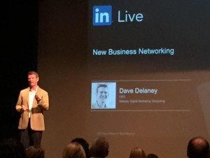 Me (slightly blurry, it's not your eyes) presenting at LinkedIn's LIVE Conference.