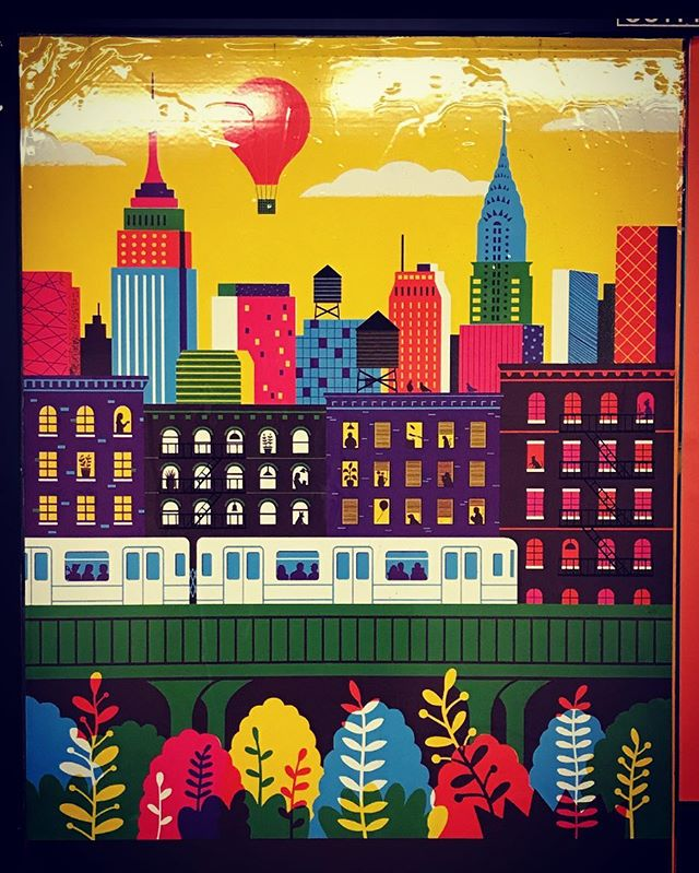 """Our Town"" by illustrator Boyoun Kim (@boyounillo). Part of @mtaartsdesign beautifying our commutes. . . . #nyc #ilovenewyork #illustration #mtaarts"