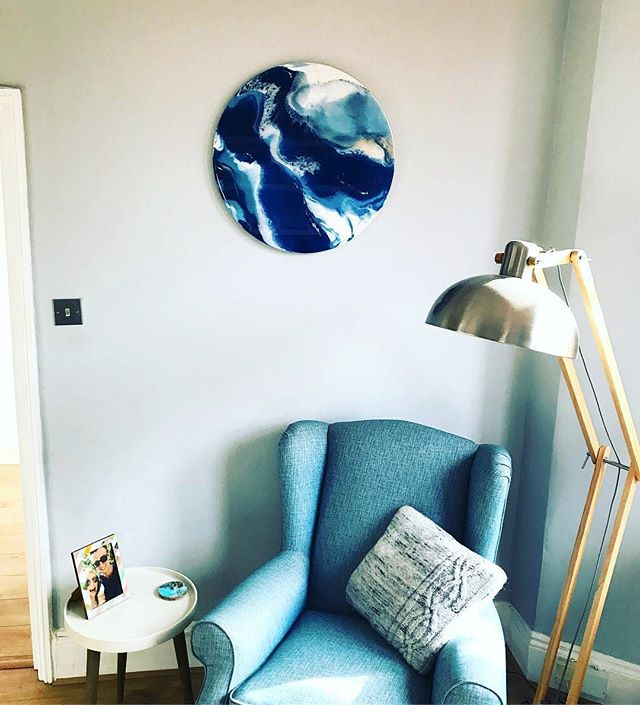 Always love seeing my art in situ and this commission was no exception. Beautiful blues to celebrate two of my university friends' 5 year anniversary 🌠💑 #Repost from @emmag_heath with @regram.app ... Marking our 5 year anniversary with a very special piece of artwork by our amazingly talented friend @morganmcfieart whose birthday we met at almost 6 years ago 🎨😍