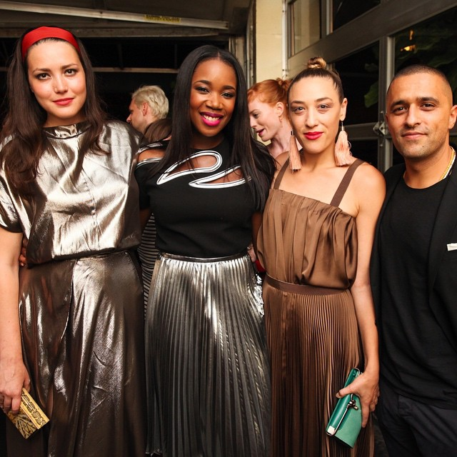 Looking chic and glam! @globaliza @miamoretti @farfetch #NYMFW #muses #glamour #pleats @internationalpleating