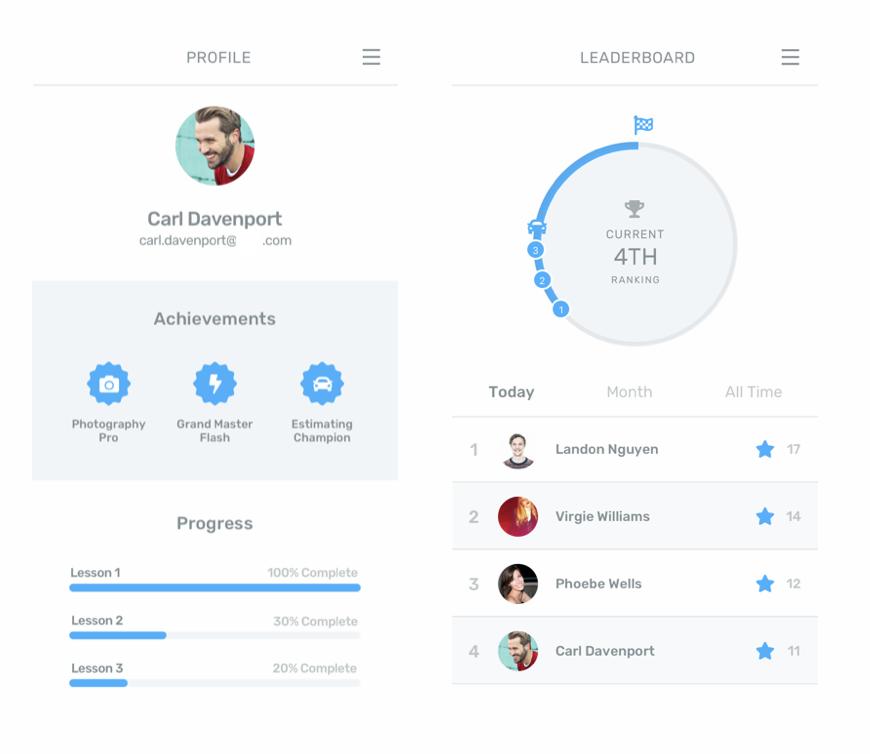 Summative Feedback  - leaderboard, achievement, progress