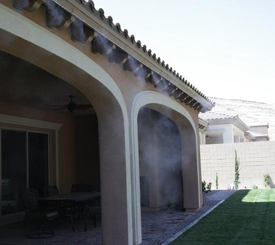Misting System Installation on Exterior of House/Patio Cover (Landscaping and Stained and Stamped Concrete also done by LVYD)