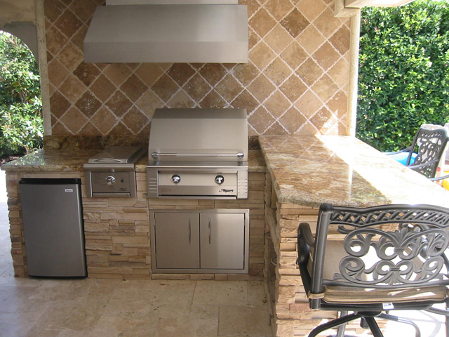 Built-In Barbecue with Vent Hood, Mini Refrigerator, Side Burner, Storage Cabinets, Backsplash Granite and Stone Bar