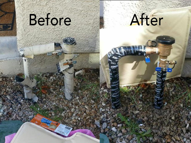 Replace Broken/Frozen Pressure Vacuum Breaker and Winterize with Heat Tape and Insulate Cover (Shown Behind Valve)