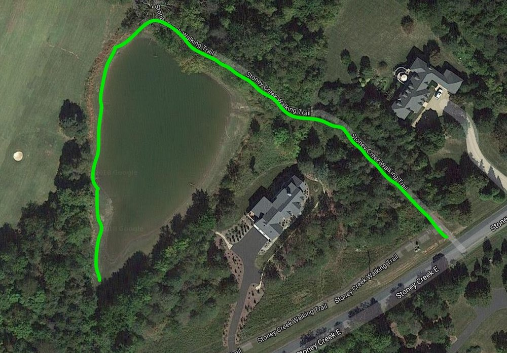 The green lines  here show the path and fishing areas on Monocan one Pond.            See Google Map HERE