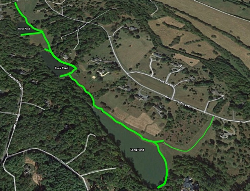THE GReen Lines  SHOWS THE approximate FISHING AREAs AND ACCESS EASEMENTs. Duck Pond is between  Horse Pond  and  Long Pond .    SEE GOOGLE MAP HERE