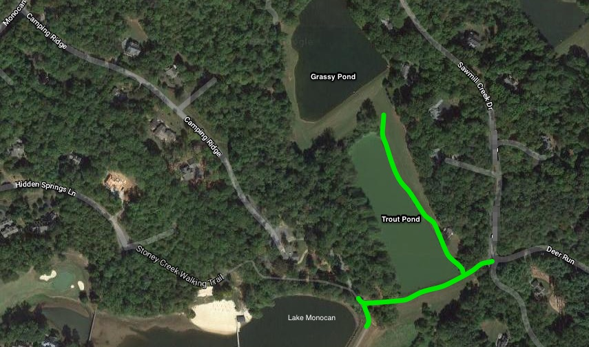 The green lines here show the approximate paths to the fishing areas on the trout Pond. Easiest access to the trout pond is at the end of Sawmill Creek Drive at Deer Run.      See Google Map HERE