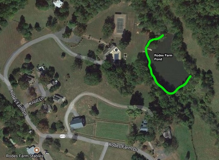 The Rodes Farm Pond  in WinterGreen's Stoney Creek subdivision. Green lines indicate fishing areas.    See Google Map HERE
