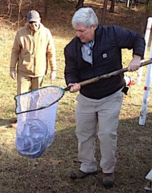 WPOA's Mitchell Barker was on hand at this year's stocking of the trout pond. -