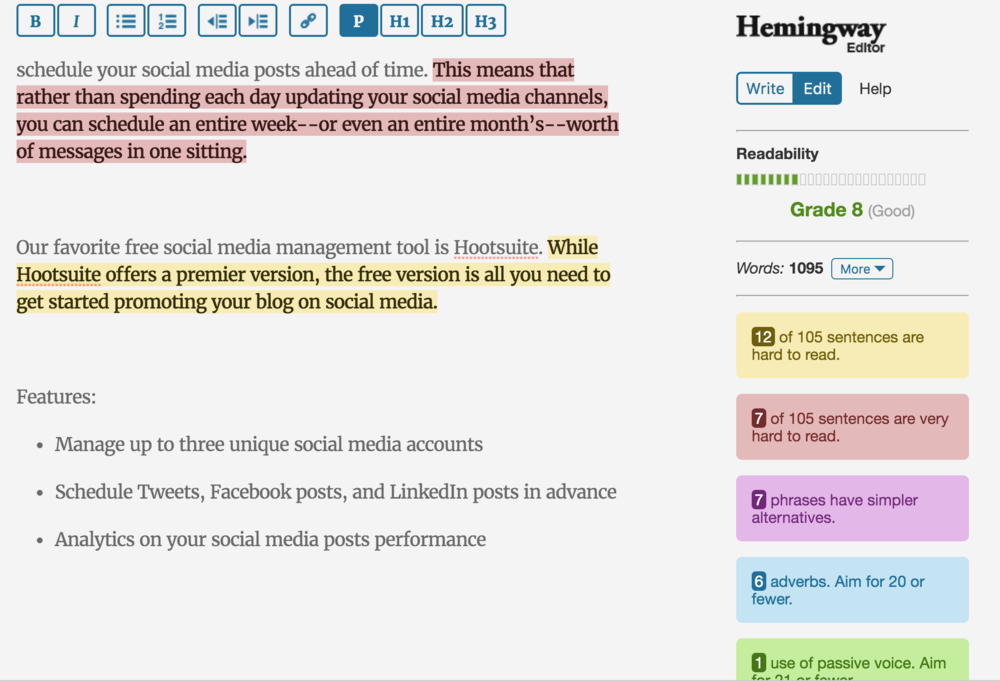 The Hemingway Editor can help you write more clearly.