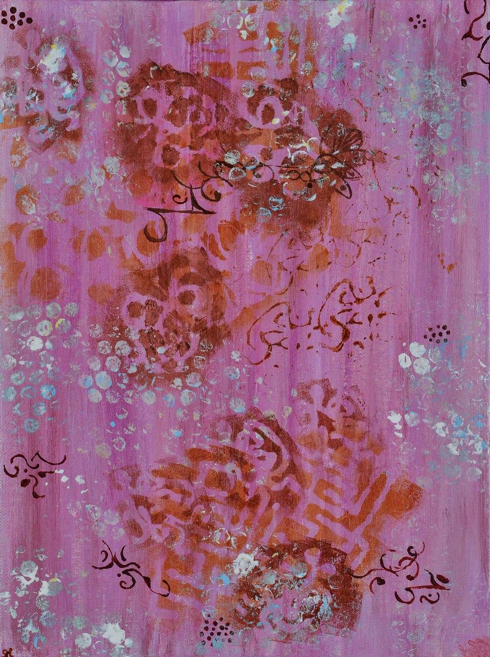 """Lakshmi's Footprints, 11""""x16"""" acrylic"""
