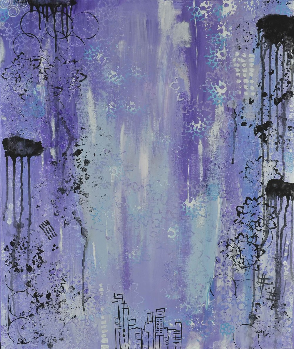 """Vision in Violet, 24""""x28"""" acrylic"""