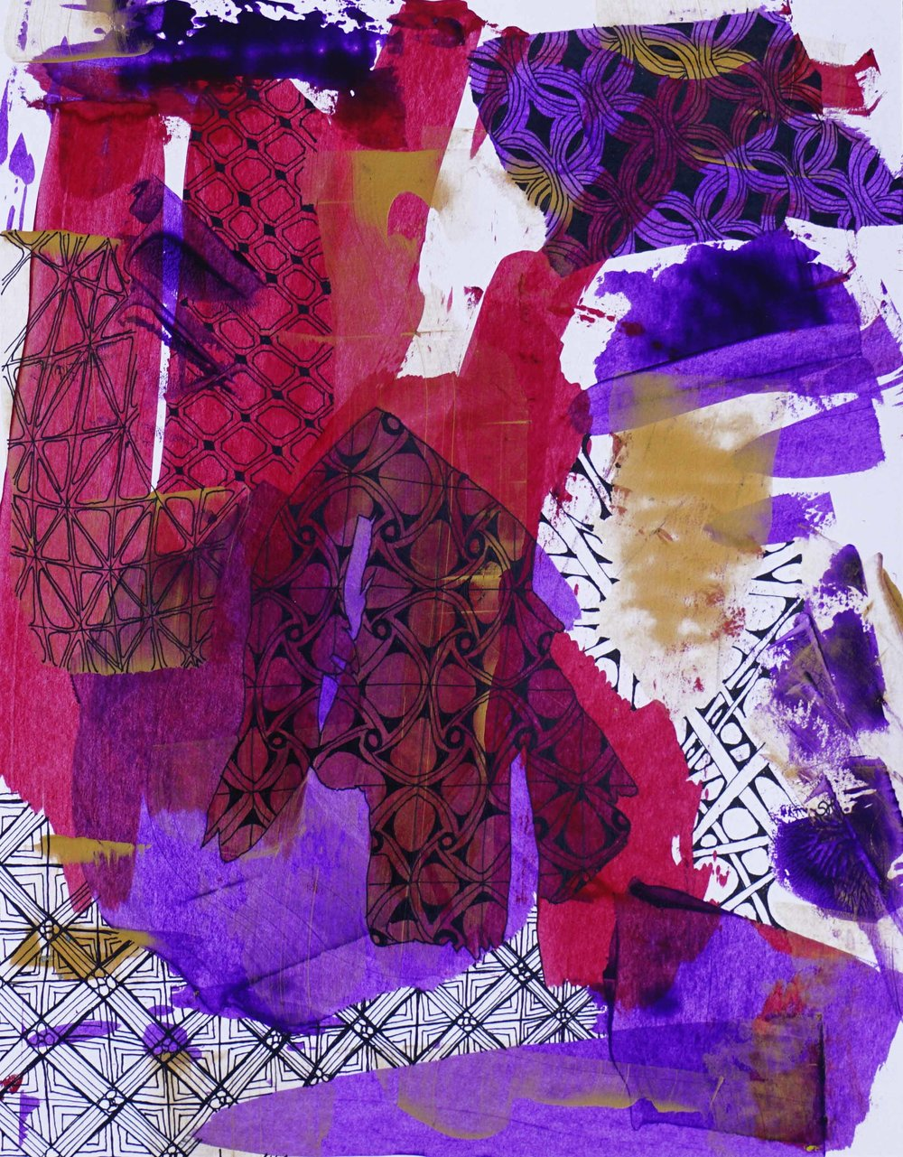 "Fragmented, 8""x11"", mixed media"