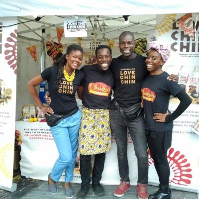 Emeka and Ifeyinwa pose with the Love Chin Chin sibling duo.
