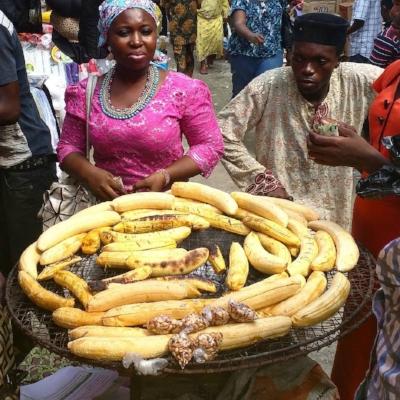 Boli seller in Nigerian market