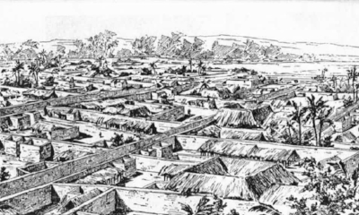 A drawing of Benin City made by a British officer in 1897. Illustration: akg-images