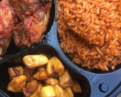 Two of Noo's faves: jollof rice & fried plantain (photo: Aroma 9ja)