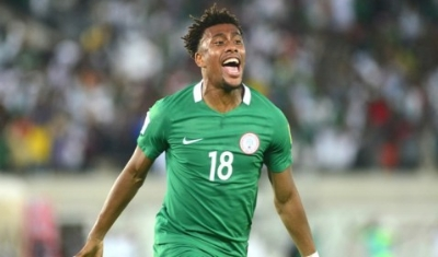 Alex Iwobi wheels away having scored the goal to send Nigeria to the World Cup 2018 (credit: Goal.com)