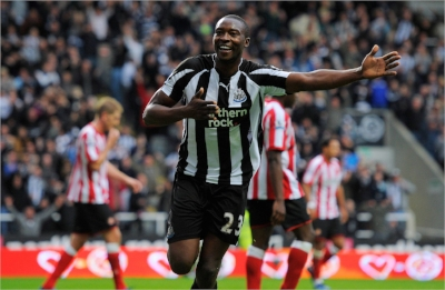 Shola Ameobi scoring for his hometown club Newcastle versus their local rivals Sunderland