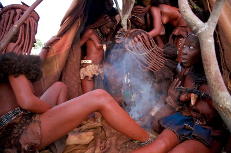 Photograph of Himba initiation into womanhood ceremony by Alegra Ally for The Wild Born Project