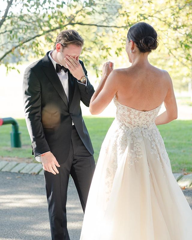 The sweetest reaction by this groom to seeing his lovely bride. It was one of those moments where he even surprised himself - very romantic!  Event coordinator: @kambevents Entertainment: @empyrealstrings / Venue: @ashfordestate / MUA: @tinnaempera / Video: @northeasthorizonsvideo / Hair: @drew_matic / Florist: @viburnumdesigns / Gown: @Galialahav / Wedding shoe: @sophiawebster / Mens Tuxedos: @saks  #asfordestate #ashfordestatewedding #authenticlovemag  #mrandmrs #loveintentionally  #marthaweddings  #weddinginspirations#vanessajoymoments  #weddingdetails #weddingblog  #weddingblogger #weddingforward  #junebugweddings #huffpostweddings #njweddingplanner #njweddingvenue  #eastcoastwedding #galialahav #galialahavbride #elegantbride #stylemepretty #inspiredbythis #inspiredbride #weddingwire #njisntboring #njisbeautiful