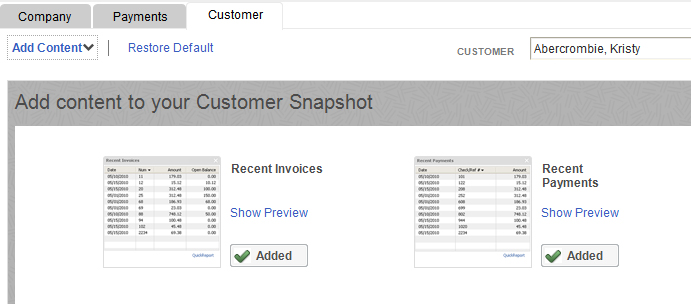 You can add, delete, and move blocks of data around in  Customer Snapshot .