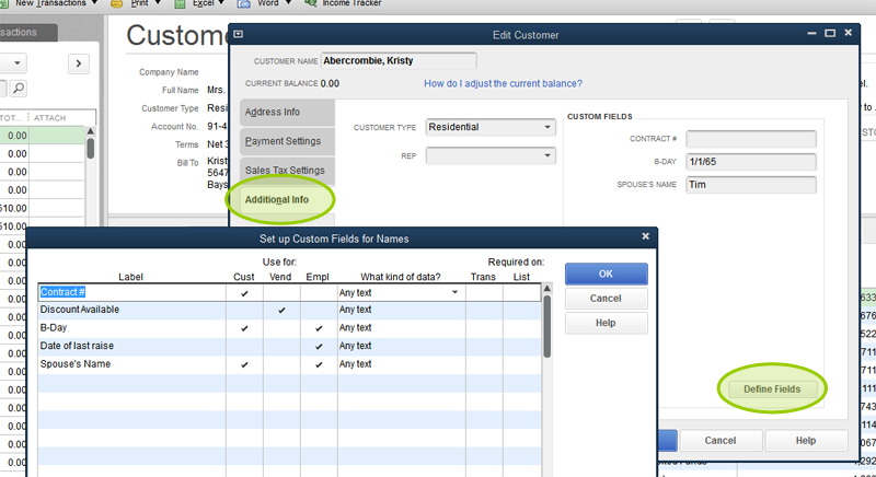 Quickbooks Custom Fields