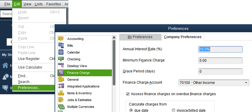 Before you can start adding finance charges to overdue invoices, you'll need to establish your  Company Preferences .