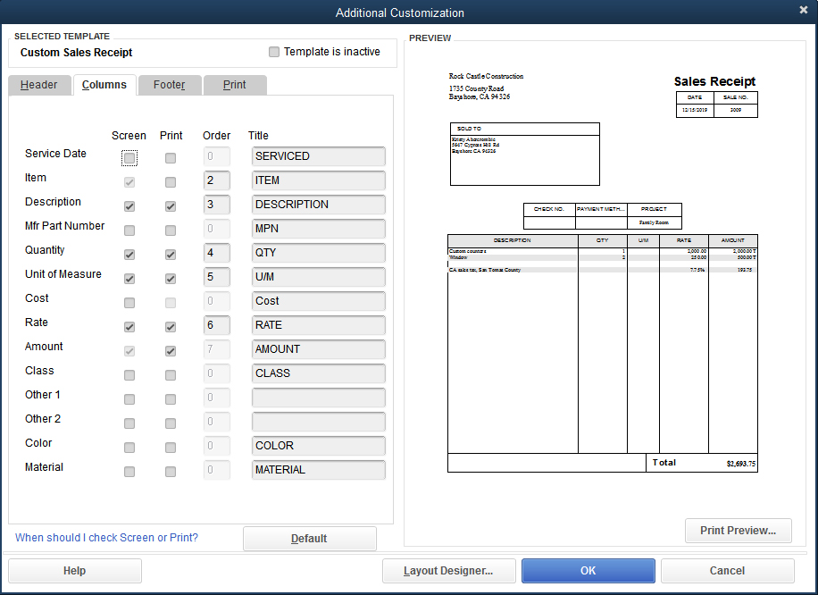 Customize sales receipts in QuickBooks