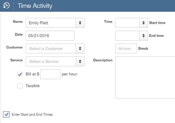 QuickBooks Online Plus Time Activity Screen